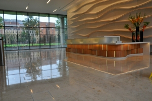 By having the services beneath the floor it has enabled both the floor plate and the facade to be maximised.